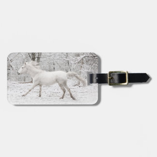Galloping White Horse in the Snow Luggage Tag