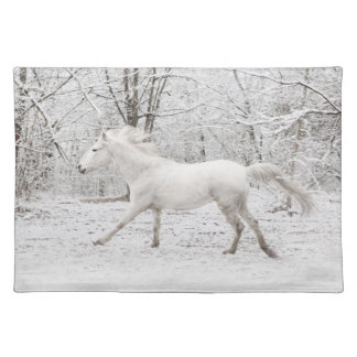 Galloping White Horse in the Snow Placemat