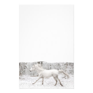 Galloping White Horse in the Snow Stationery