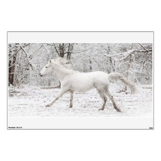 Galloping White Horse in the Snow Wall Skin