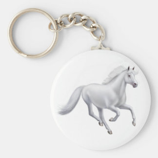 Galloping White Horse Keychain