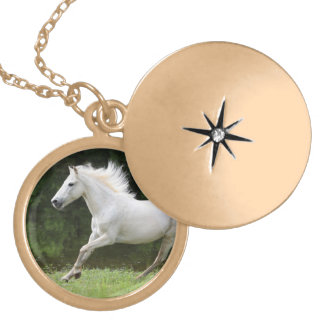 Galloping White Horse Locket Necklace