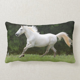 Galloping White Horse Lumbar Pillow