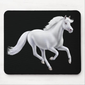 Galloping White Horse Mousepad