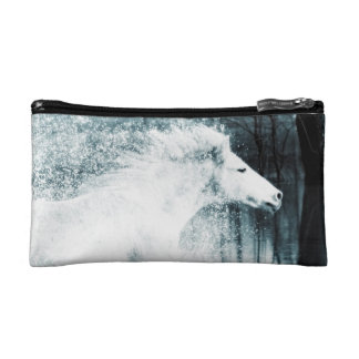 Galloping White Water Horse Makeup Bags