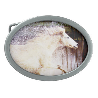 Galloping White Water Horse Belt Buckle