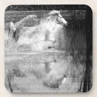 Galloping White Water Horse Beverage Coaster
