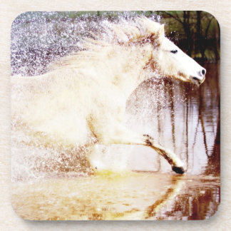 Galloping White Water Horse Drink Coaster