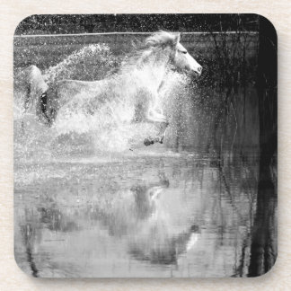 Galloping White Water Horse Drink Coasters