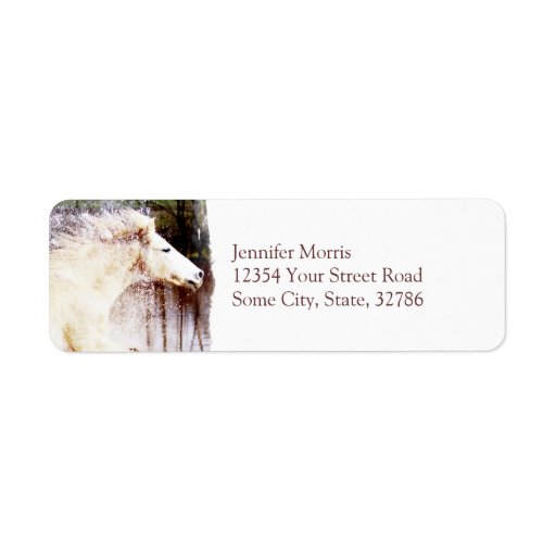 Galloping White Water Horse Return Address Label