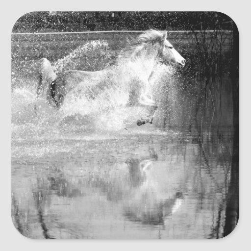 Galloping White Water Horse Square Stickers