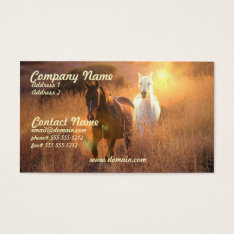 Galloping Wild Horses Business Card at Zazzle
