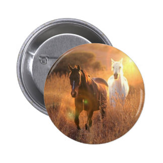 Galloping Wild Horses Round Button