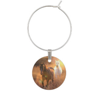 Galloping Wild Horses Wine Glass Charm