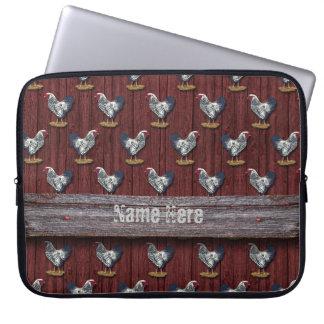 Gallos atados plata Barnboards de Wyandotte Funda Computadora