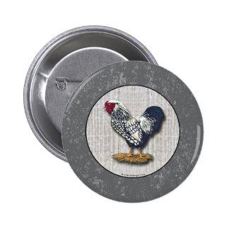Gallos atados plata Barnboards de Wyandotte Pin Redondo 5 Cm