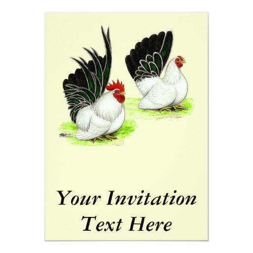 Gallos blancos negros japoneses invitación 12,7 x 17,8 cm