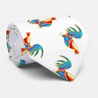 gallos coloreados multi en blanco corbatas personalizadas