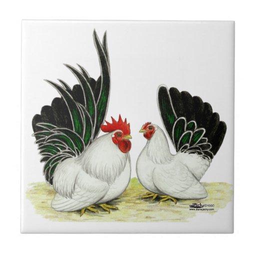 Gallos de Blacktail del japonés Teja Ceramica
