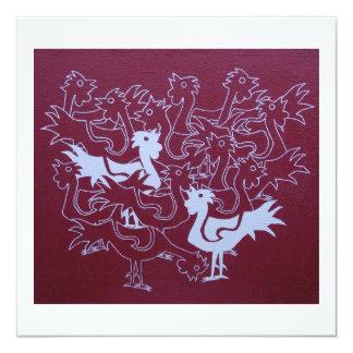 """Gallos en tarjeta de la arpillera invitación 5.25"""" x 5.25"""""""