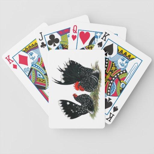 Gallos japoneses abigarrados baraja cartas de poker