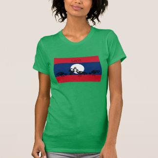 Gallos que luchan la bandera de Laos Poleras