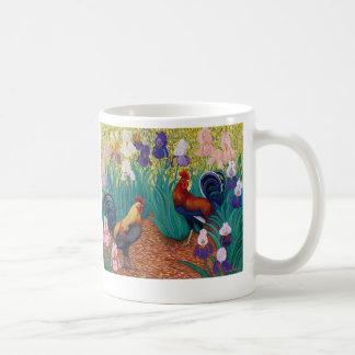 Gallos y taza del iris