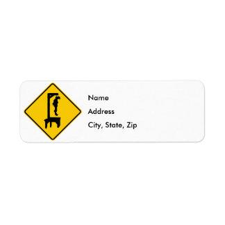 Gallows Ahead Highway Sign Return Address Label