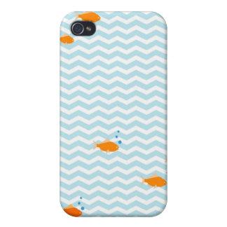 Galón azul caprichoso con los pescados del oro iPhone 4/4S carcasa
