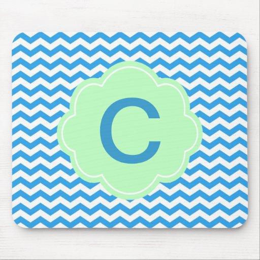 Galón azul, forma verde clara, monograma tapete de ratón