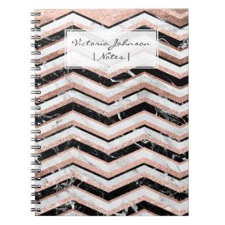 Galón de mármol blanco del falso negro color de libro de apuntes con espiral
