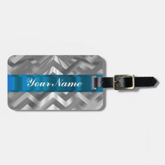Galón de mirada metálico de plata etiqueta para maleta