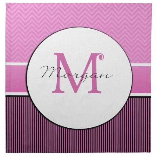 Galón del monograma de Morgan y negro rosado de la Servilletas De Papel