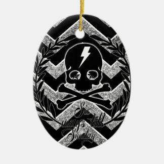 Galón gráfico del cráneo y de la iluminación en ne ornaments para arbol de navidad