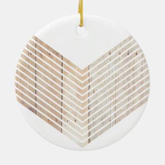 Galón minimalista blanco con madera adorno navideño redondo de cerámica