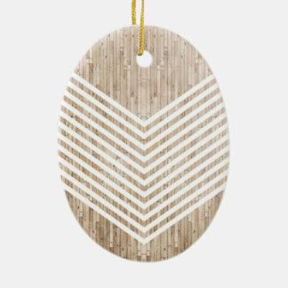 Galón minimalista de madera adorno navideño ovalado de cerámica