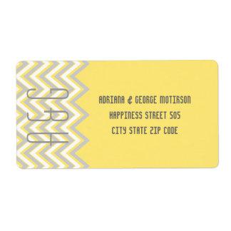 Galón moderno gris, boda amarillo etiquetas de envío