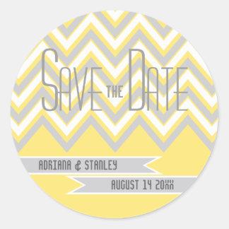 Galón moderno gris, reserva amarilla del boda la etiquetas redondas