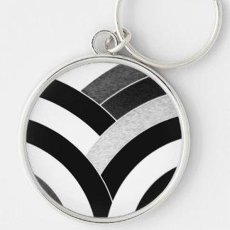 galón negro/blanco curvado moderno elegante llavero redondo plateado