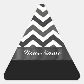 Galón negro y blanco calcomanía trianguladas personalizadas