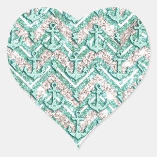 Galón reluciente con las anclas y el arte del pegatina en forma de corazón