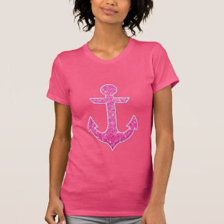 Galón rosado del azul del ancla del brillo camiseta