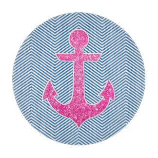 Galón rosado del azul del ancla del brillo tabla para cortar