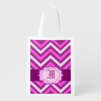 galón rosado, monograma, bolso de ultramarinos bolsa de la compra