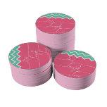 Galón rosado y verde/vivo, risa, amor juego de fichas de póquer