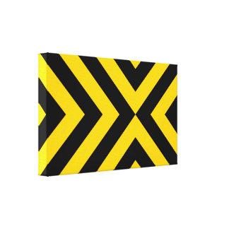 Galones amarillos y negros lona envuelta para galerias