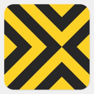 Galones amarillos y negros pegatina cuadrada