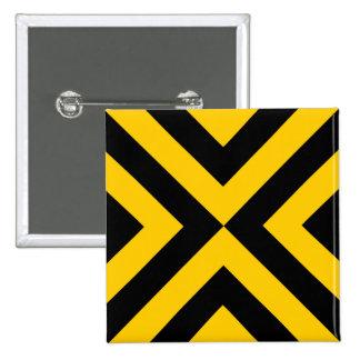 Galones amarillos y negros pin cuadrada 5 cm