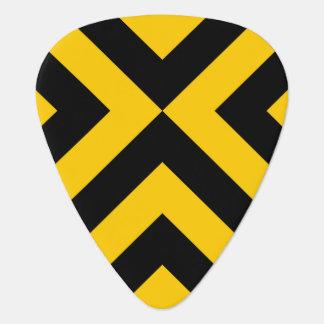 Galones amarillos y negros púa de guitarra