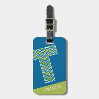 Galones azules brillantes enormes de la letra T Etiquetas Para Equipaje